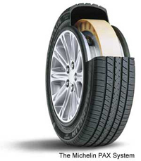 It uses special Michelin PAX run flat tires, designed ...  Michelin Pax Tires